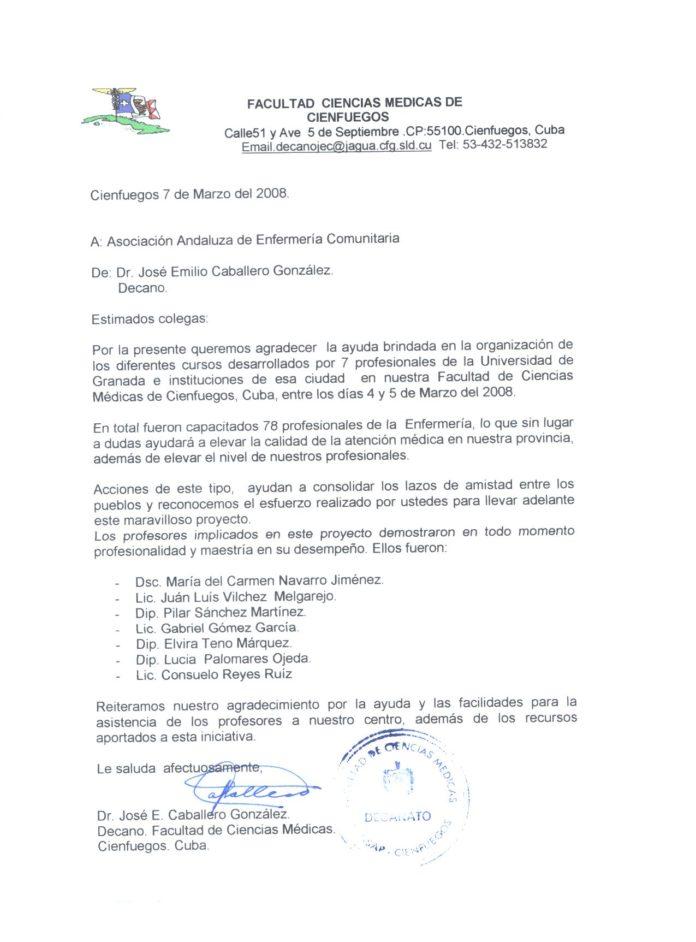 Carta reconocimiento rector universidad Cienfuegos cuba